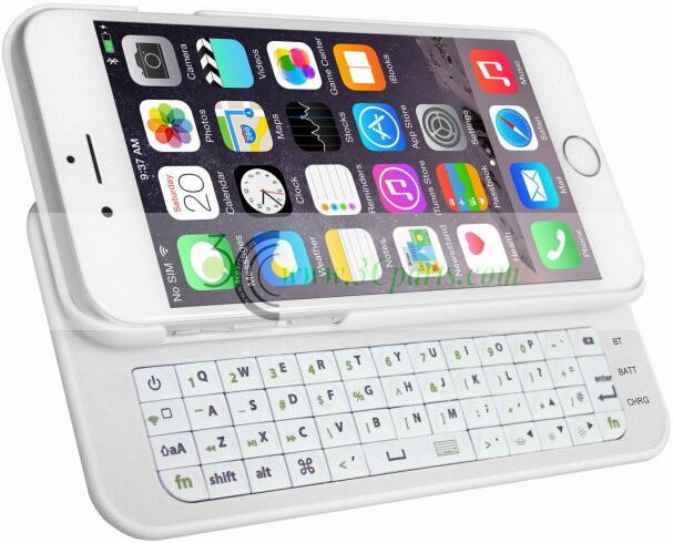 "Slide-out Wireless Bluetooth Keyboard for iPhone 6 4.7"" White"