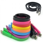 Colorful Flat Noodle USB Data Sync Charger Cable for iPhone 4 4S iPad iPod