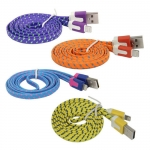 Colorful Nylon Netting Noodle Shape USB Data Sync Charger Cable for iPhone 5 5S 5C iPad 4 Mini​