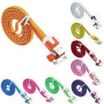 Colorful Nylon Netting Noodle Shape 30 Pin to USB Data Sync Charger Cable for iPhone 4