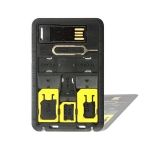SIM Card Storage Holder with memory card reader 3 sim Adapters & 1 Iphone Pin