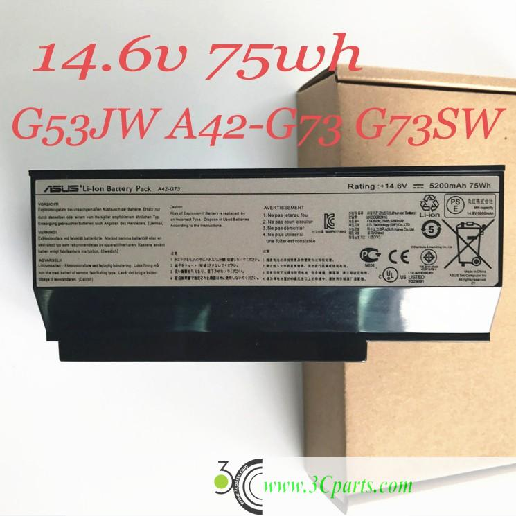 Laptop Battery 75wh 5200mAh Repair for Asus A42-G73 G73 G73JH G73JQ G73SW G73JW G53JW G53 G53S G53SW G53SX G73S used